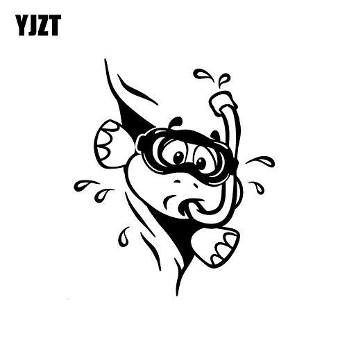 JYIP 13.2CM*15.8CM Lovely Beak Swimming Tortoise Roam The Bottom Cabinet Vinyl Animal Decal Car Sticker Black/Silver C18-0161 Silver