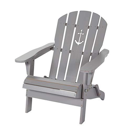 Pureday Outdoor-Stuhl Anker - Adirondack Chair klappbar - Maritimer Look - Holz - Grau