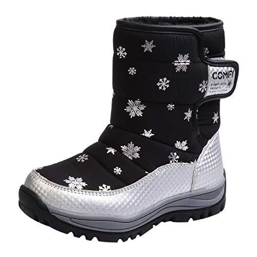 Fenverk Kinder Schnee Stiefel Schuhe Winter Mode Studenten Turnschuhe Neu Jungs MäDchen Wasserdicht Thermal Gummistiefel Pelz Unisex Aufregung(Schwarz,30 EU)