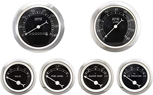 MOTOR METER RACING 6 Gauge Set Classic with Mechanical Speedometer Analog Odometer Black Dial