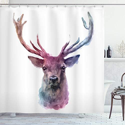 ABAKUHAUS Hirsch Duschvorhang, Antlers Wild Nature, Hochwertig mit 12 Haken Set Leicht zu pflegen Farbfest Wasser Bakterie Resistent, 175 x 240 cm, Pink Lila