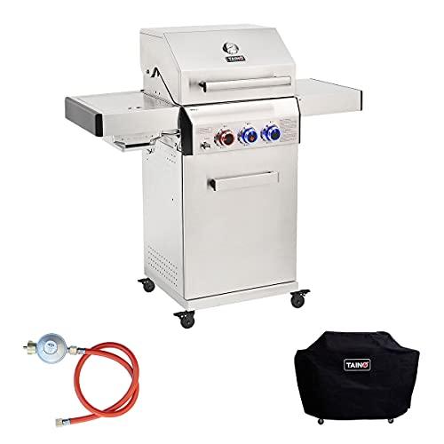 TAINO Platinum 2+1 Gasgrill Edelstahl Set inkl. Haube Druckregler Seiten-Brenner BBQ Grillwagen Griller Gusseisen Seitenkocher Piezozündung