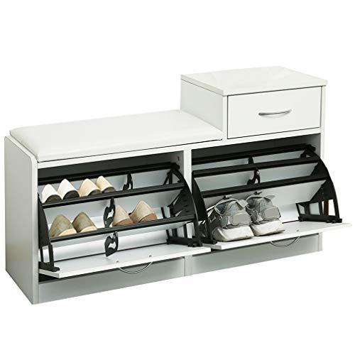 ARCALT Banco de Almacenamiento de Zapatos con cajón Plegable gabinete para Zapatos con Asiento Acolchado extraíble - Blanco