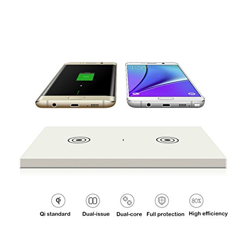 Qi Dual Transmitter Qi Wireless Charger, AL-TRONIC Universal Dual-Charging Charger Pad Fast Charge for Cell Phones Universal (White)