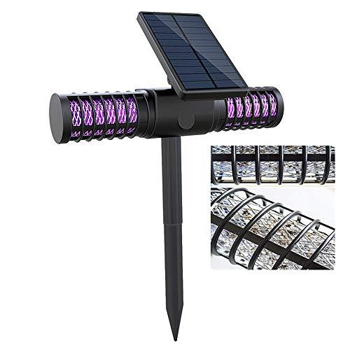 ghtmarrine Lampe solaire anti-moustiques rechargeable par USB à double tête - Lampe de jardin étanche à l'eau - Lampe tueur de moustiques