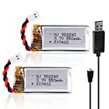 Sirecal 2pcs 3.7V 550mAh 25C Lipo Batería XH2.54 Connector with USB Charger for RC...