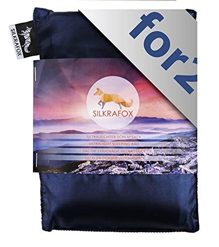Silkrafox for 2 - Sac de Couchage Ultra-léger, idéal pour Les Couples, Le Compagnon idéal des randonnées, des Voyages ou du Camping, Bleu