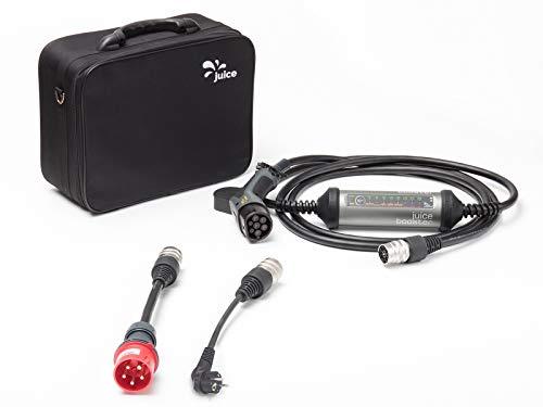 Juice Booster 2 Mobile Garage EV Ladegerät mit Adaptern - 32A 3-Phasig, Typ 2 Ladekabel 22kW 1-Phasig, Wallbox 11kW |Basic Set| inkl. Adapter CEE32 und CEE 7/7 Schuko (EU) | Ohne Installation