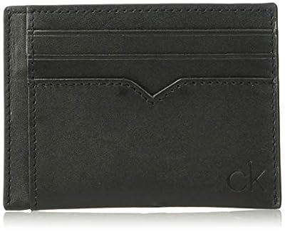 Calvin Klein Men's Burnished Leather Card Case, Black, 1 Size