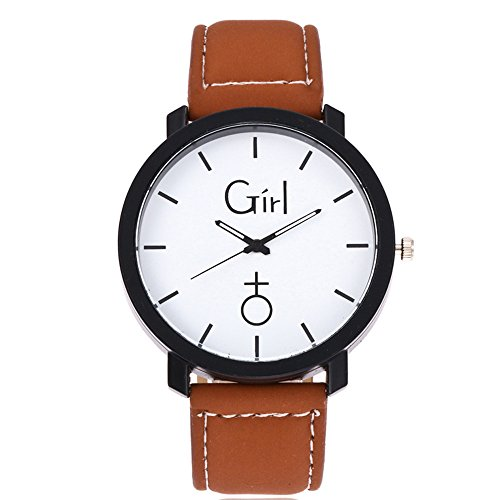 Quartz Wrist Watch,Hosamtel Simple Delicate Business Analog Watch for Couple Lovers (Brown1)