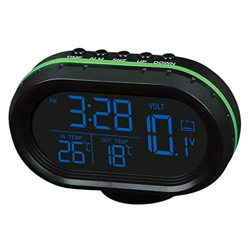 H HILABEE Termómetro, Voltímetro Y Hora con Luz de Fondo para Reloj de Coche 3 en 1 - Azul Naranja, 9.3x7.5x5cm