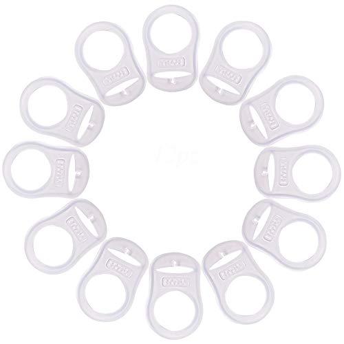 12pz Anello Morbido Silicone Adattatore Ciuccio per Porta Ciuccio Catenella (trasparente-12pz)