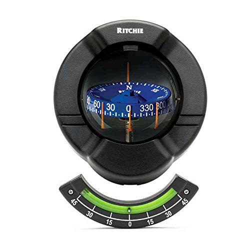 Ritchie SR-2 Venture Bulkhead Mount Sail Boat Compass with Clinometer - Black