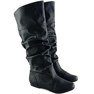 Qupid Women's Neo144 Leatherette Basic Slouchy Knee High Flat Boot,Black Pu-14,10