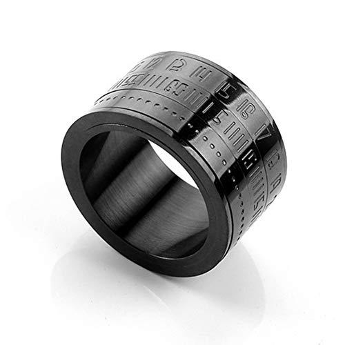 Jishu Anello rotante in acciaio al titanio numeri arabi calendario orologio anello uomo anello gioielli