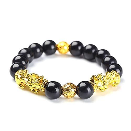 XYBB Feng Shui obsidiana Perlas de Piedra Pulsera Hombres Mujeres Unisex Pulsera Oro Negro pixiu Riqueza y Buena Suerte Mujeres Pulsera (Length : 15 20cm, Metal Color : 14)