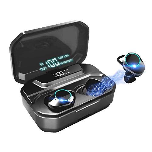 IPX7 impermeable auriculares Bluetooth, portátil BT 5.0 Sport Auriculares Wireless Headset - 3D Hi-Fi, mini caja de carga, micrófono incorporado, pantalla LED, 3300mAh, auriculares for IOS Android