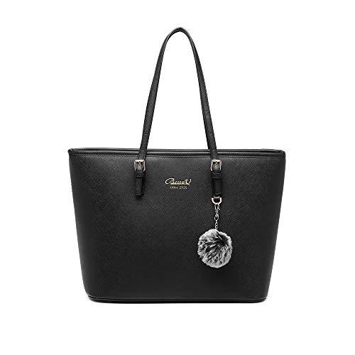Bolsos Mujer Bolso Bandolera Mujer Bolsos de PU Cuero Shopper Bolsa Tote para con decoración de pompon (Negro)