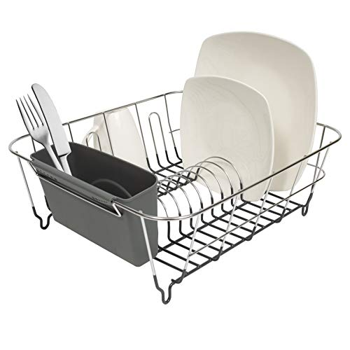 Sweet Home Collection 2 Piece Dish Drying Rack Set Drainer with Utensil Holder Simple Easy to Use Fits in Most Sinks 12quot x 145quot x 5quot Black