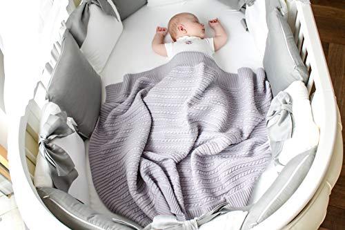 Eva &Naomi Wolldecke Babydecke gestrickt | 100% MerinoWolle | 75 x 100 cm | Strickdecke, Kuscheldecke, warme Decke (Grau)