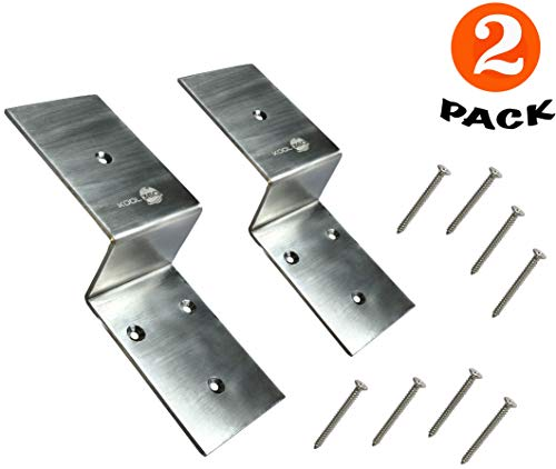 Heavy-Duty Stainless Steel Door Barricade Brackets| Set of 2| Fit 2x4 Inches Lumber| Open Bar Holders Shipped with Screws| Door Security Brackets with Pin Hole| Easy and Effective Security Measure|