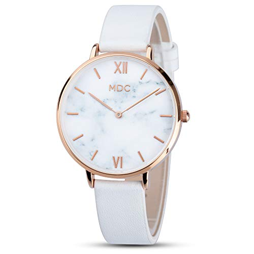 MDC Damenuhr Weiß Armbanduhr Damen Lederarmband Marmor Rosegold Uhr Analog Quarz Damenarmbanduhr Ultra-Flach Slim Frauen Uhren Mit Mode Weiss Leder
