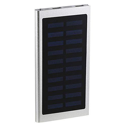 ZYRAY Power Bank 10000Mah Chargeur Solaire avec Affichage LED 2 USB Et 1 Sorties Entrées Chargeur Portable Batterie Externe Compatible avec Smartphone Et Plus,Argent