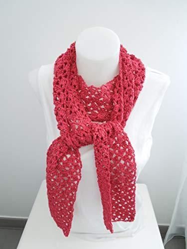 Schal aus Bändchengarn in pink