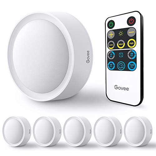 Govee Led Puck Lights, Under-Cabinet Tap Lights Battery Operated with Remote, Timer Function, and Stepless Dimming, Wireless and Easy to Install for Cabinet, Kitchen, Staircase, Wardrobe, 6 Pack