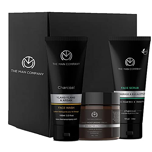 The Man Company Cleanse & Moisturise Pack (Charcoal Face wash + Charcoal Scrub + Moisturising Cream)- Set of 3   Made in India