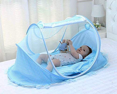 KIRFIZ Baby Folding Mosquito Net Kids Easy Installation & Fold Pillow with Sleeping Bottom Mosquito Net Bed Outdoor Camping Home Baby Bed Canopy Indoor/Outdoor Decoration for 0 to 3 Years Old Baby