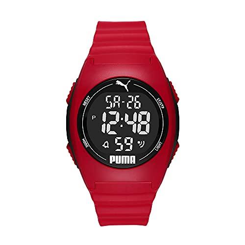 PUMA Unisex Puma 4 LCD, Rot Plastic Uhr, P6014