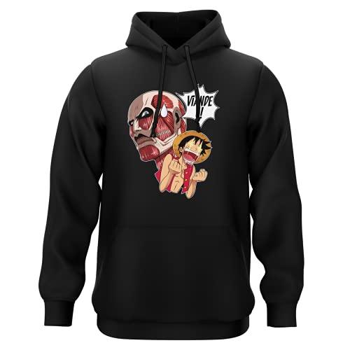 Sweat-Shirt à Capuche Noir Parodie One Piece - Attaque des Titans - Luffy VS Titan Colossal - Viande !!!! (Sweatshirt de qualité Premium de Taille 3XL - imprimé en France)