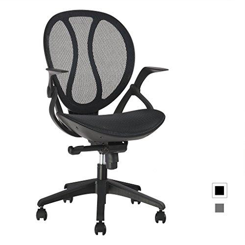 LANGRIA Mid-Back Mesh Computer Desk Chair Executive Adjustable Swivel Office Chair Ergonomic Design, Adjustable Height and Armrests Cotton Padded Seat,LROC-088BK, Black
