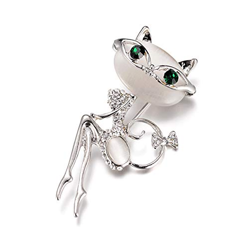 WanXingY Super Cute Cat's Eye Brooch Creative Dress Fashion Style Korean Crystal Collar Brooch