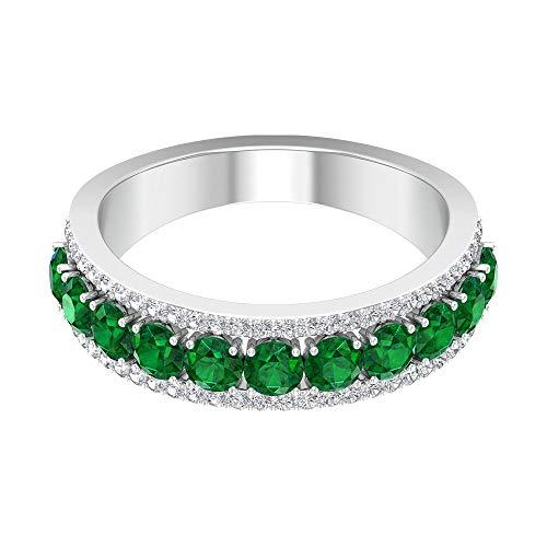 3 mm diffuse Smaragd Verlobungsring, D-VSSI Moissanit Eternity Ring, Halber Eternity Bandring aus massivem Gold, Party-Verschleißring, 18K Roségold, Size:EU 70