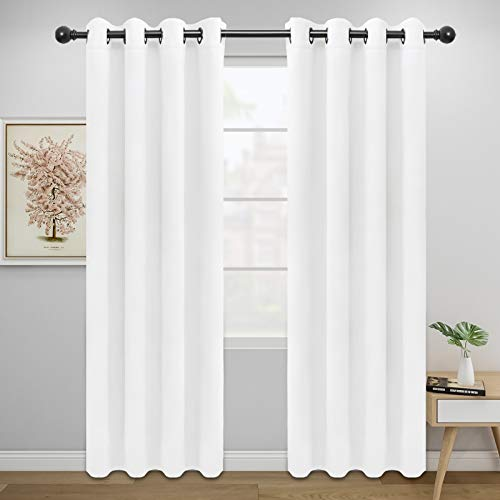 Easy-Going Blackout Curtains for Bedroom, Solid Thermal Insulated Grommet and Noise Reduction Window Drapes, Room Darkening Curtains for Living Room, 2 Panels(52x84 in,White)