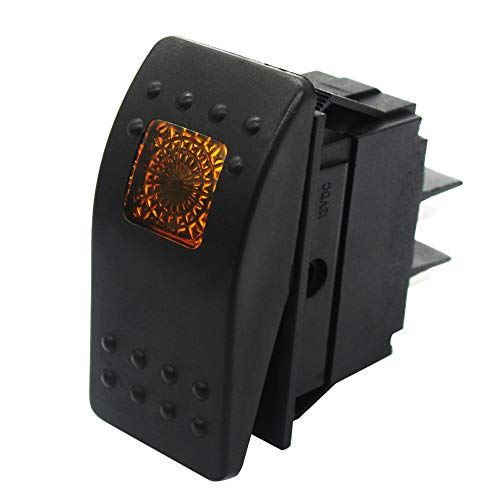 Mxuteuk RK1-06-Y - Interruptor basculante para barco (12 V, 20 A, impermeable), color amarillo