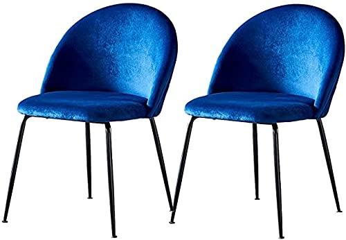 ARWQ857 Sillas de Comedor Silla Comedor Terciopelo 2 Piezas Asiento Tapizado Tela Diseño Ergonómico Patas Metal Negro Sillas Laterales Retro Silla Salón Oficina Comedor Moderno (Color : Navy Blue)