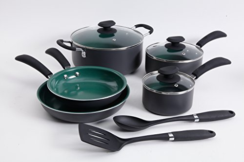 Gibson Home Eco-Friendly Hummington 10 pc Aluminum Cookware Set Charcoal exteriors with green ceramic non-stick interiors, 1