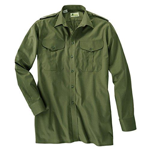 SKOGEN Jagdhemd olivgrün mit langem Arm Übergröße, Kragenweite:56