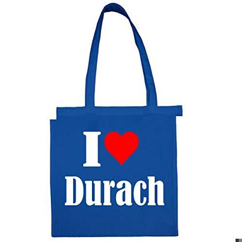 Tasche I Love Durach Größe 38x42 Farbe Grau Druck Schwarz