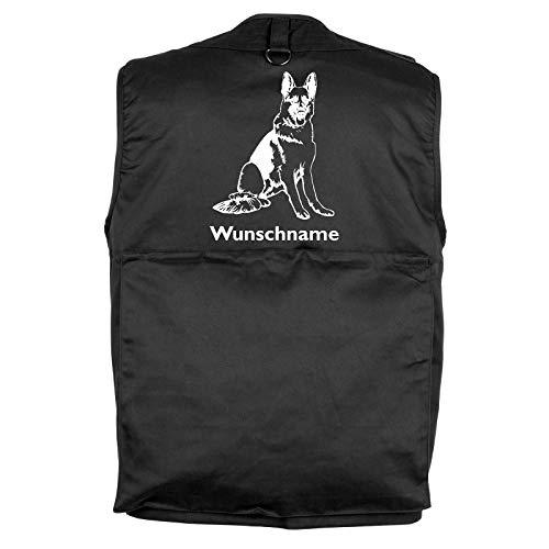 Tierisch-tolle Geschenke Deutscher Schäferhund - Hundesportweste Hundeführerweste mit Rückentasche und Namen S (Motiv 5)