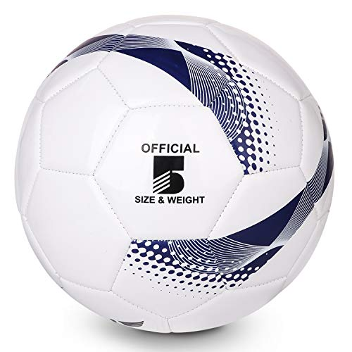 TianCheng PVC+EVA tamaño 5 fútbol suave ligero adecuado, Highliving fútbol tamaño 5 entrenamiento profesional club equipo interior y exterior partido pelota de fútbol 5 azul