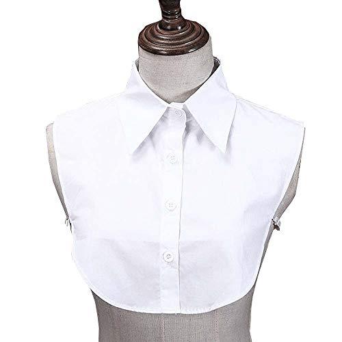 Juland Frauen Kragen Damen Abnehmbare Hälfte Shirt Bluse Damenhalb Fake Hemd Blusenkragen Cotton Fake Kragen Punkt – Weiß