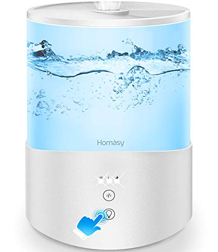 Homasy Cool Mist Humidifier, Essential Oil Diffuser with 7-Color Mood Lights, 2.5L Top Fill Humidifier for Bedroom, Baby Humidifier, Sleep Mode,White