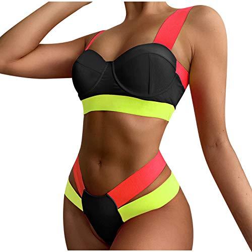 N-B Bikinis Mujer Verano Conjunto 2021 Push Up Empalme Colores Sujetador sin Aros con Relleno y Tanga Hueco Bañador Natacion Neopreno Traje de Baño de Dos Piezas
