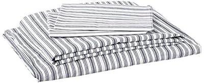 Nautica | Percale Collection | Bed Sheet Set - 100% Cotton, Crisp & Cool, Lightweight & Moisture-Wicking Bedding, Queen, Coleridge Charcoal