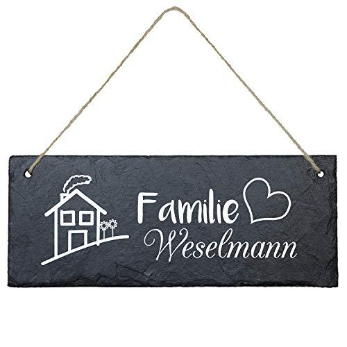 Geschenke 24 Schiefertafel personalisiert für Ehepaare mit Familienname (eckig - 25 x 10 cm - Familienname) - Schieferplatte Deko, Eingangstür Haustür, Türschild - Hochzeitsgeschenk, Wanddeko