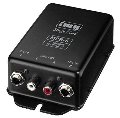 IMG Stageline MPR-6 microfoonvoorversterker voor het aansluiten van maximaal 2 microfoons op een line-ingang, zwart
